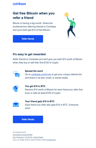 coinbase - Referral Email Marketing