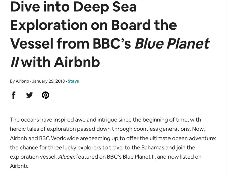 AirBnB & BBC Earth press release