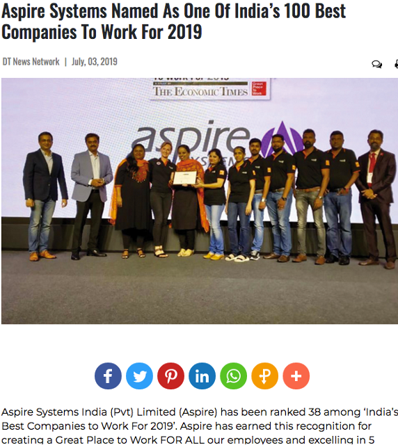Aspire Systems press release