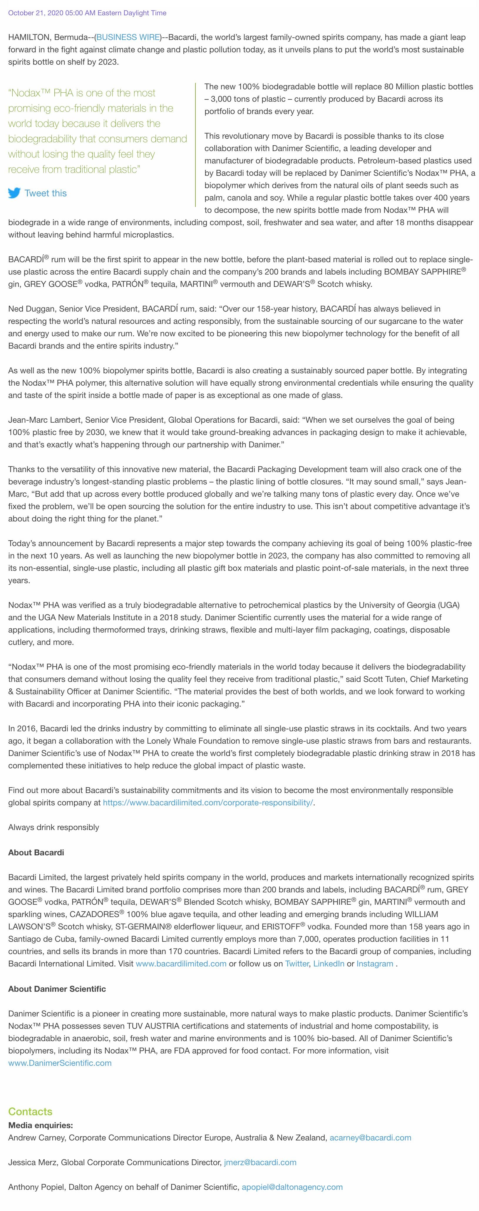 Bacardi press release