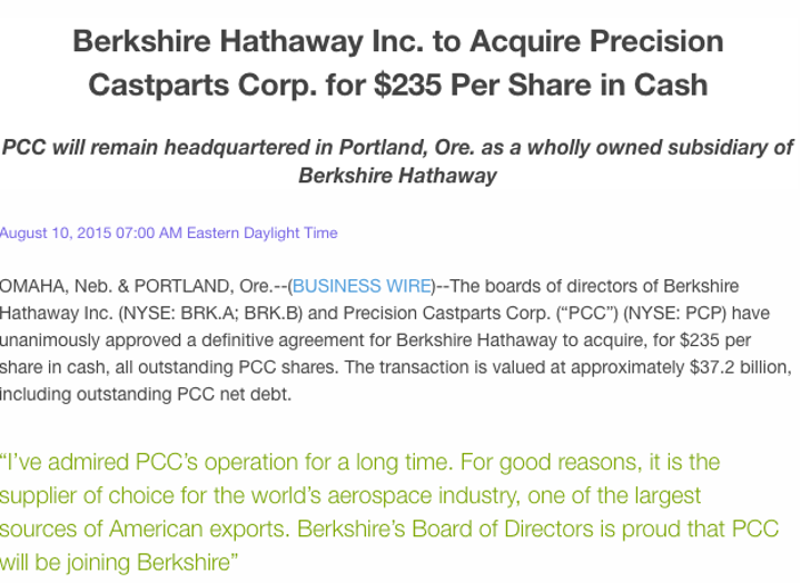 Berkshire Hathaway press release
