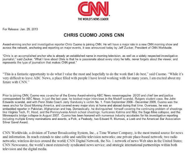 CNN press release