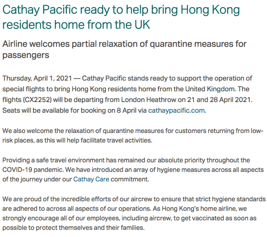Cathay Pacific press release