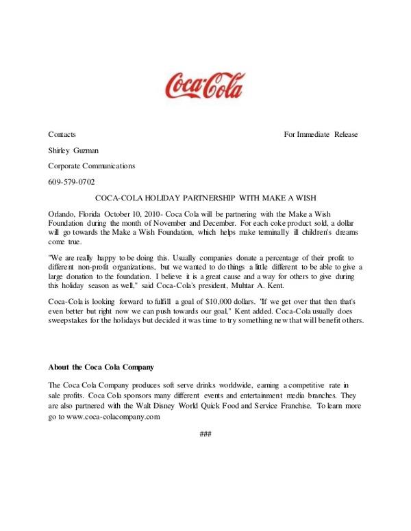Coca Cola Press Release