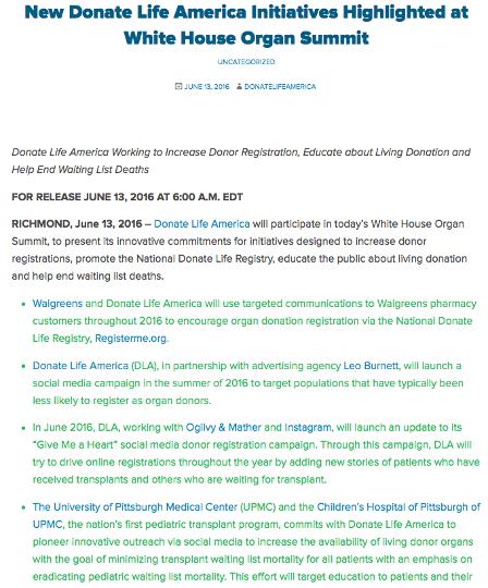 Donate Life America Press release