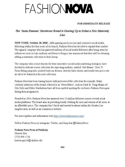 FashionNova press release
