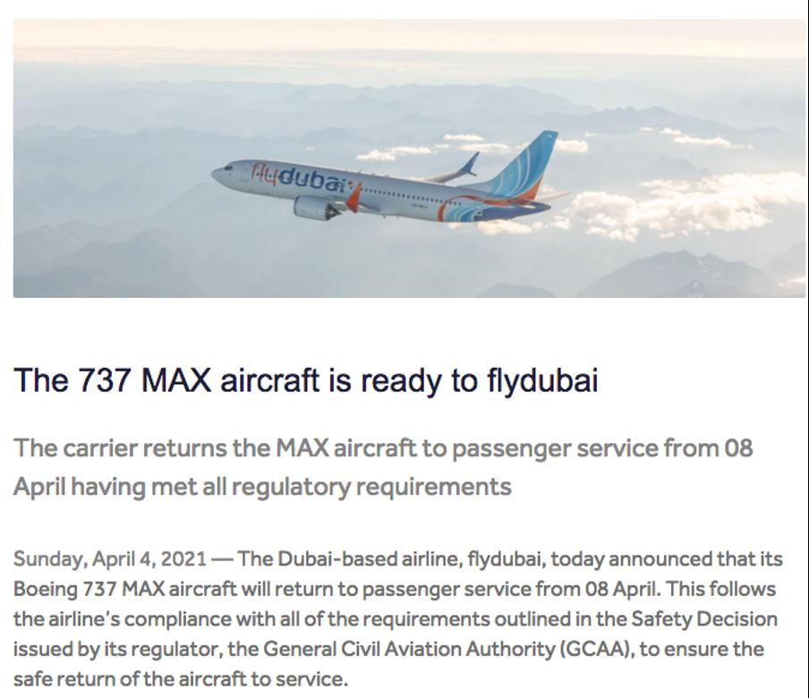 FlyDubai press release