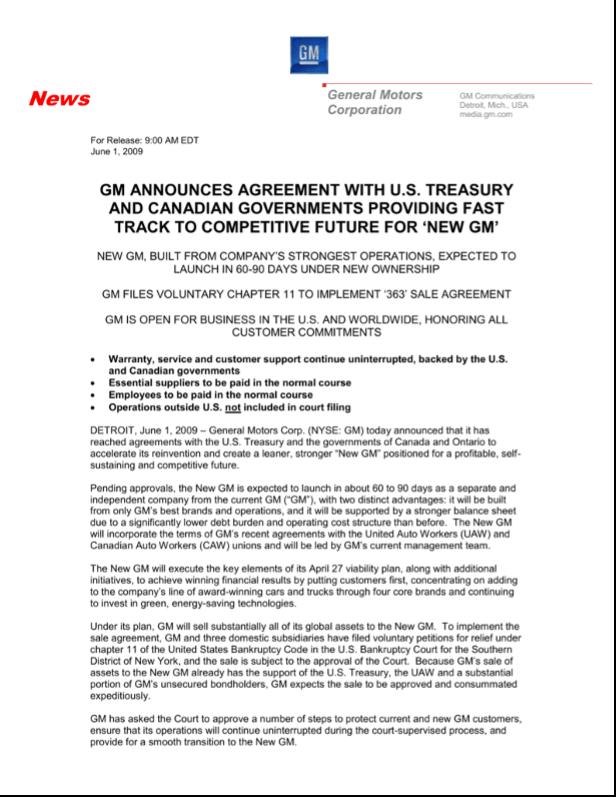 General Motors press release