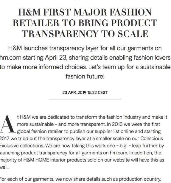 H&M press release