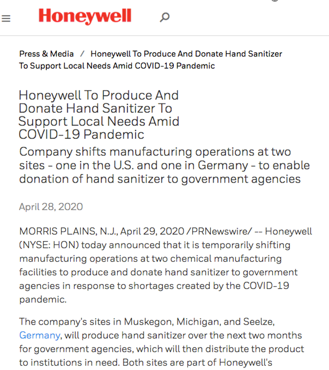 Honeywell press release