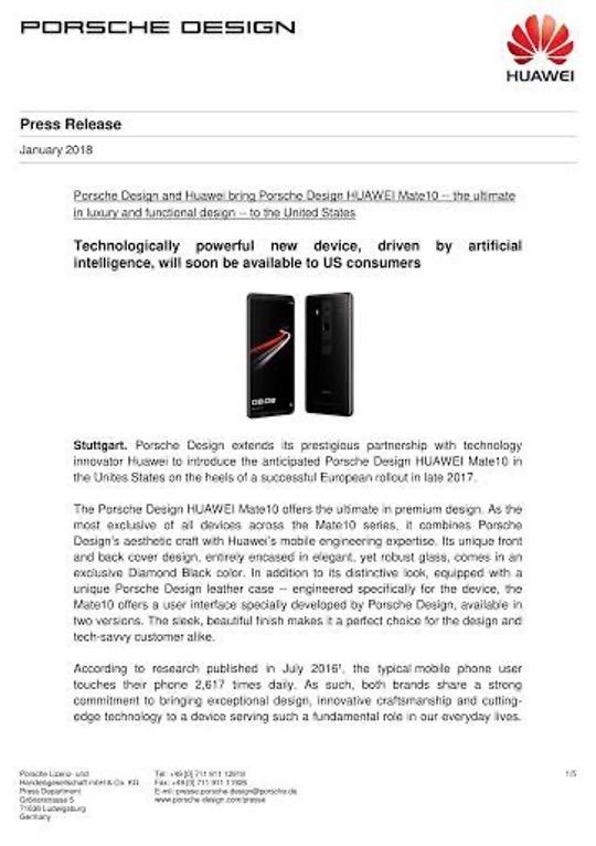 Huawei Porsche press release