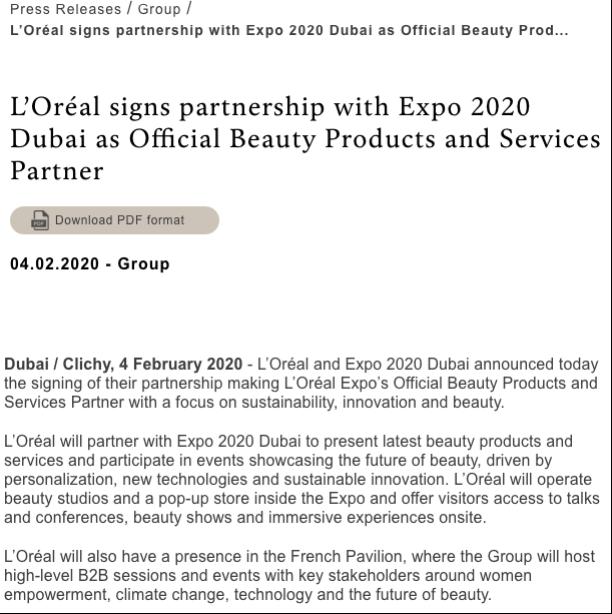 L'Oreal press release
