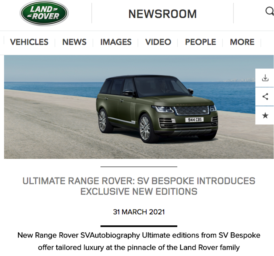 Land Rover press release