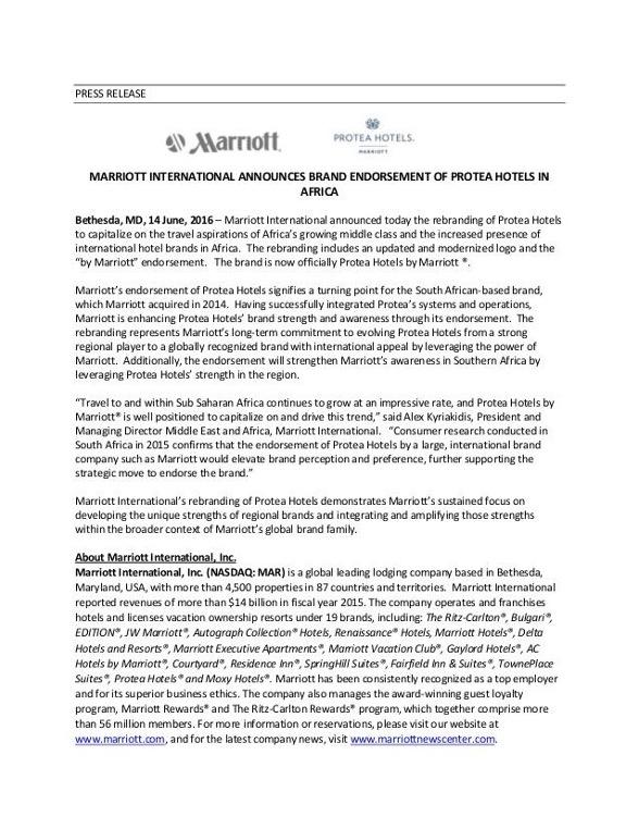 Mariott press release
