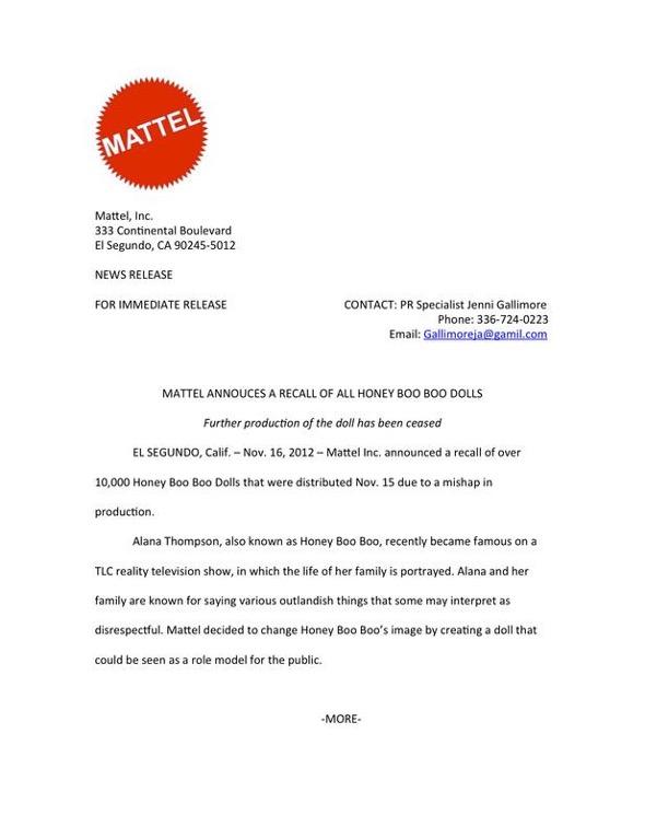 Mattel press release