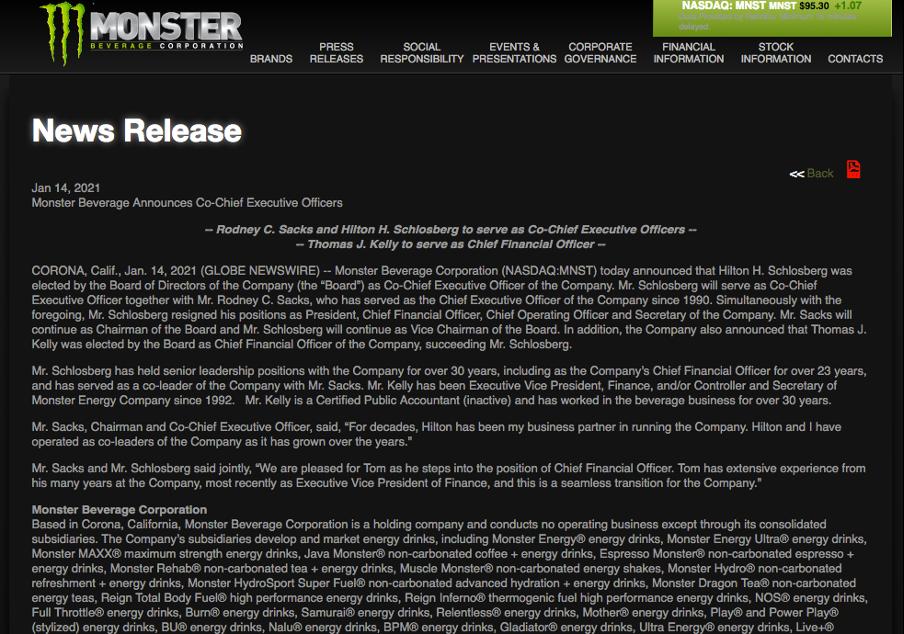 Monster press release