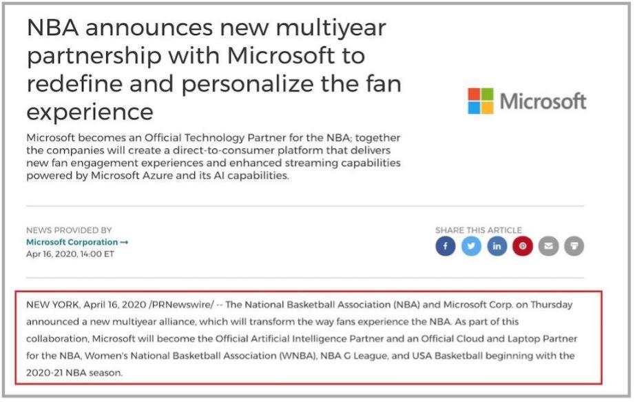 NBA Microsoft press release