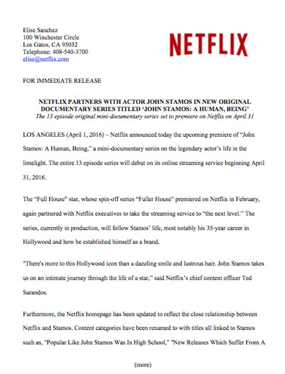 Netflix press release