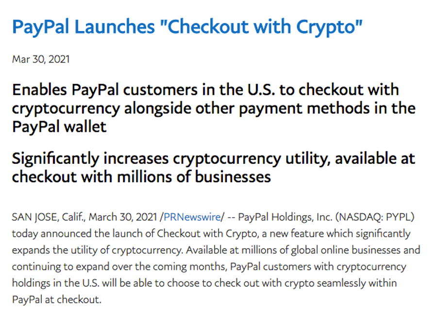 PayPal press release