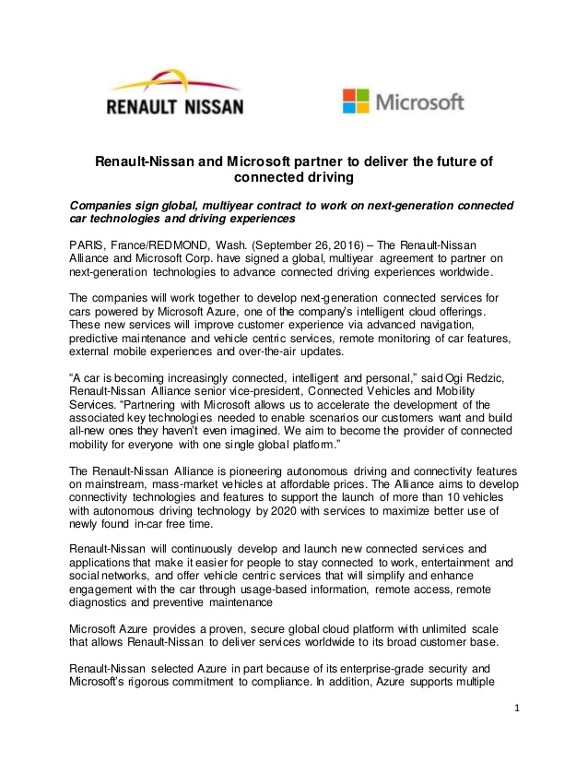Renault Nissan press release
