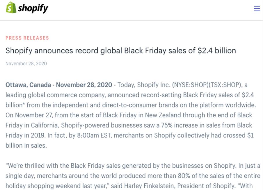 Shopify press release