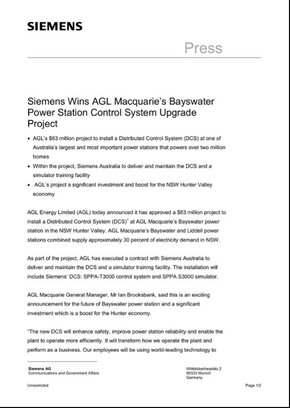 Siemens press release