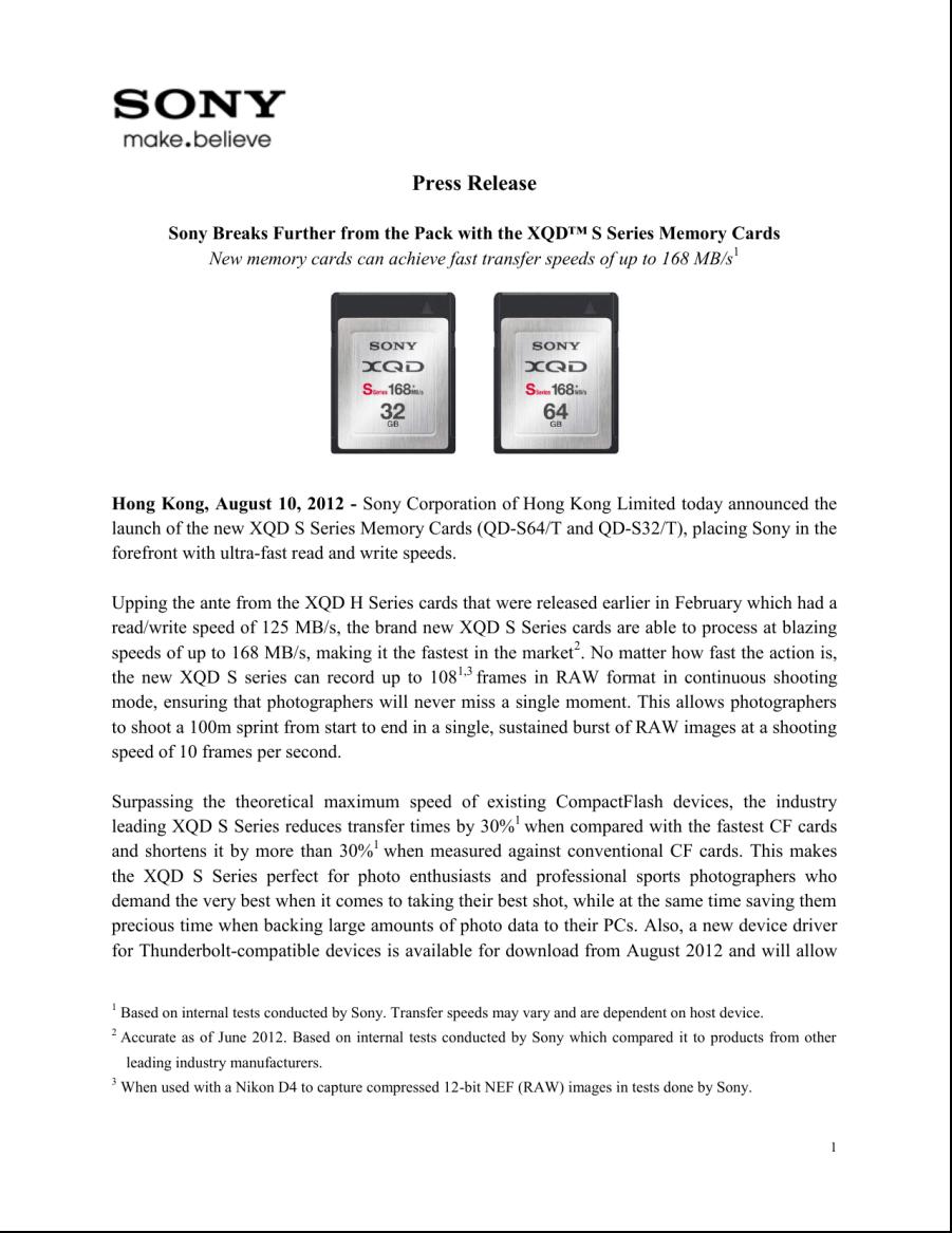 Sony press release