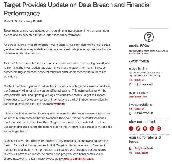 Target press release