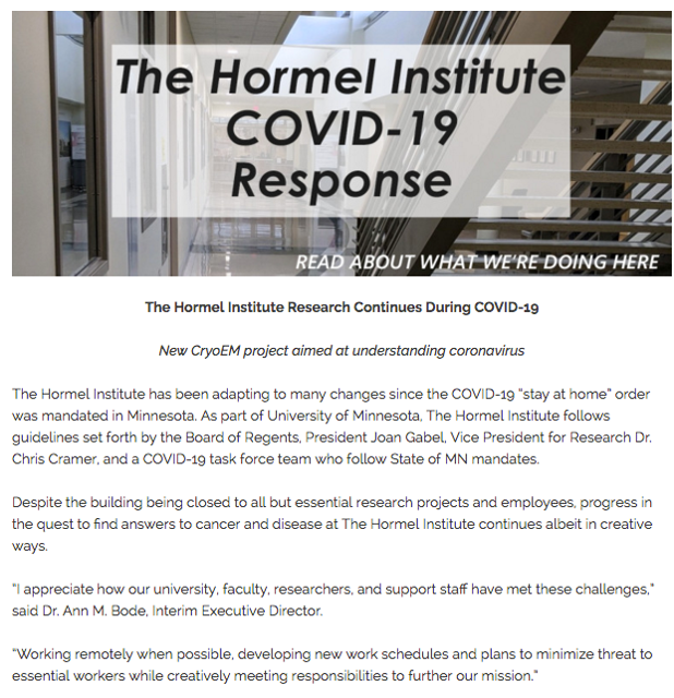 The Hormel Institute press release