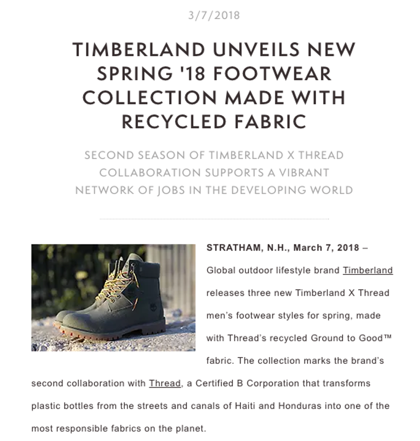 Timberland press release