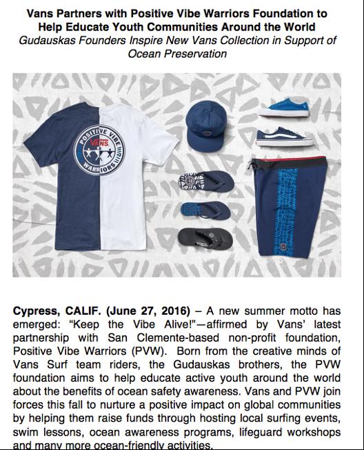 Vans press release