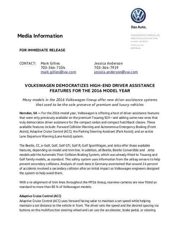 Volkswagen press release