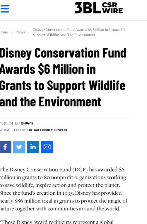 Walt Disney press release