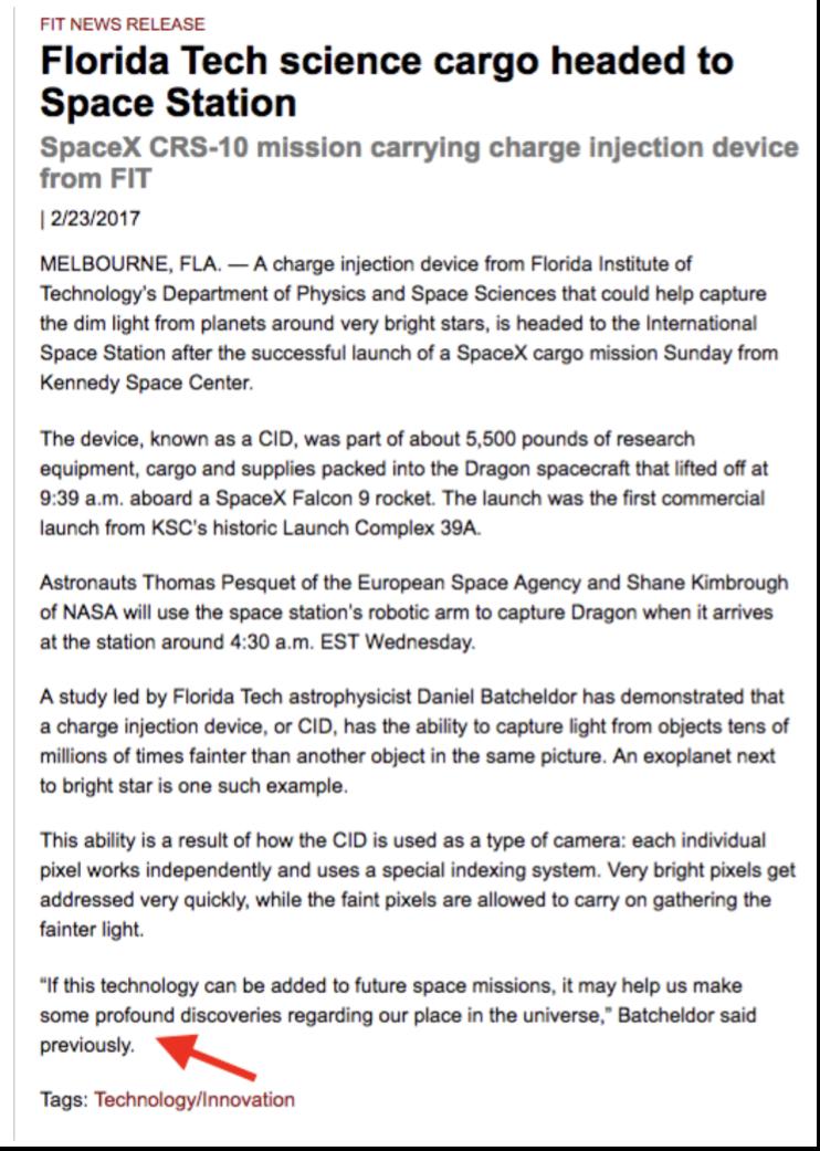Florida Tech science press release