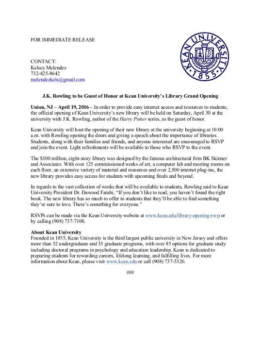 Kean University press release