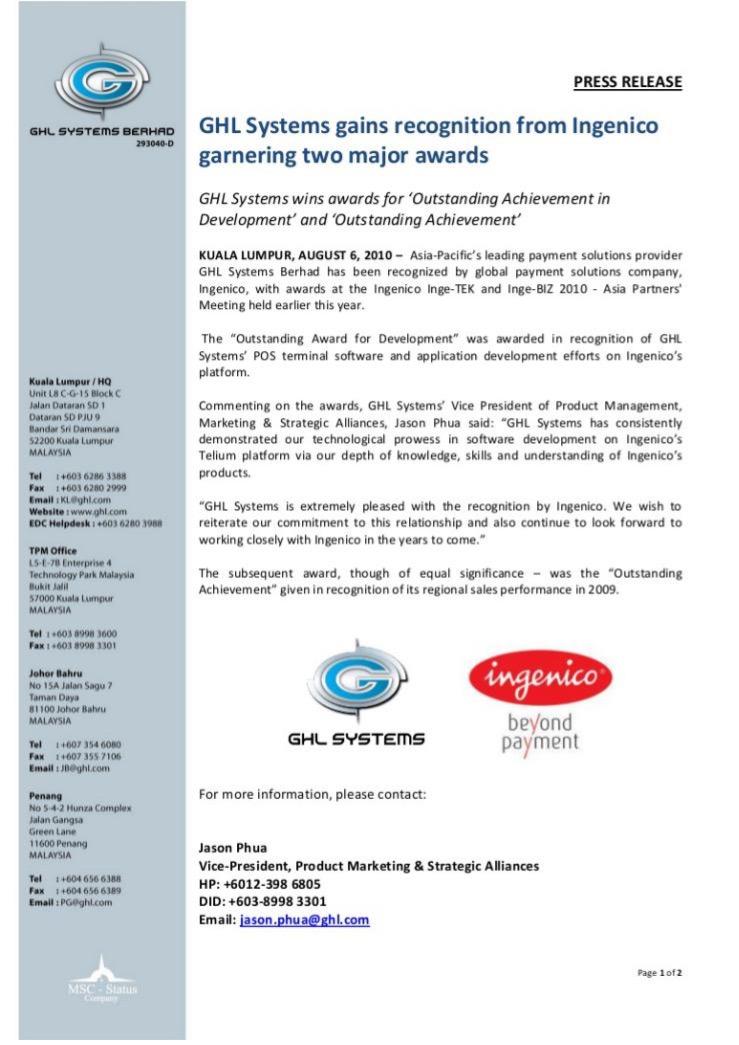GHL press release