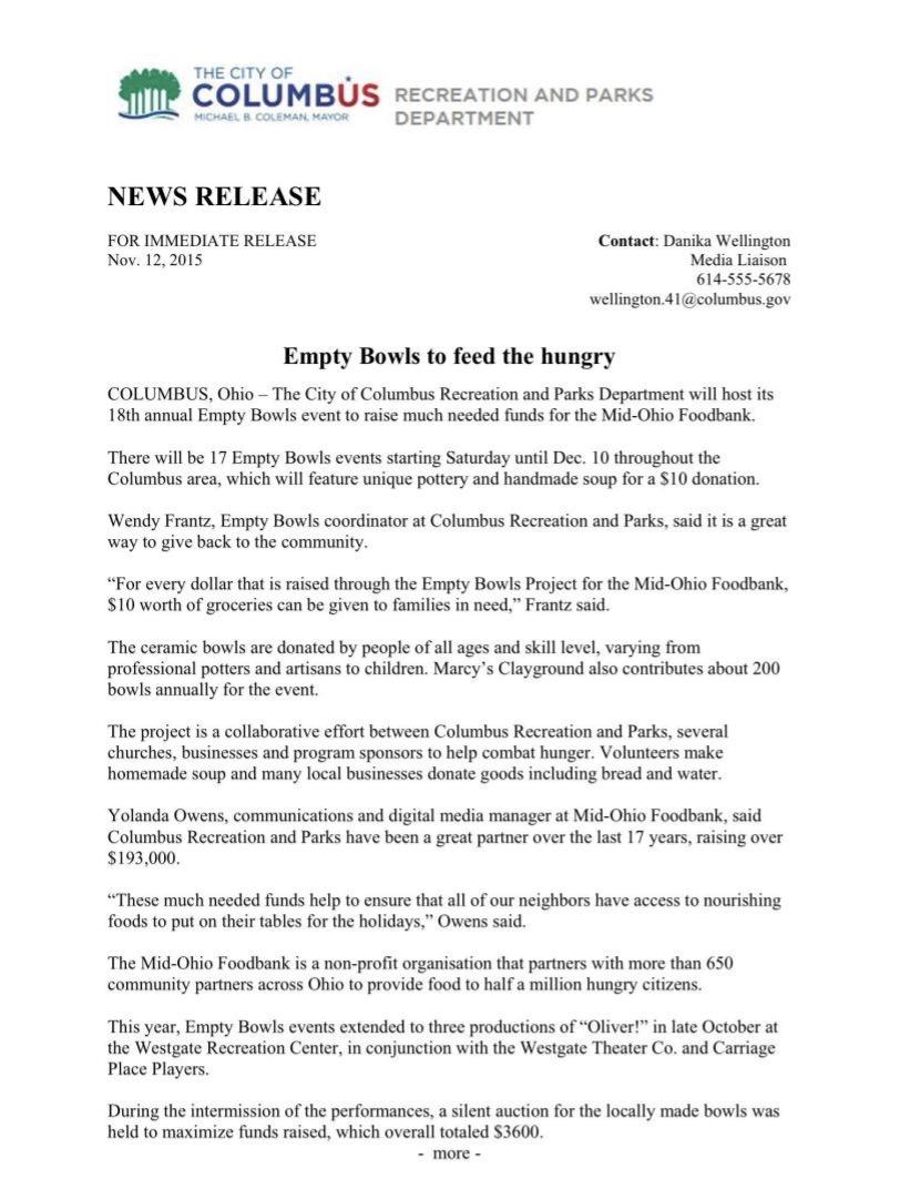 City of Columbus press release