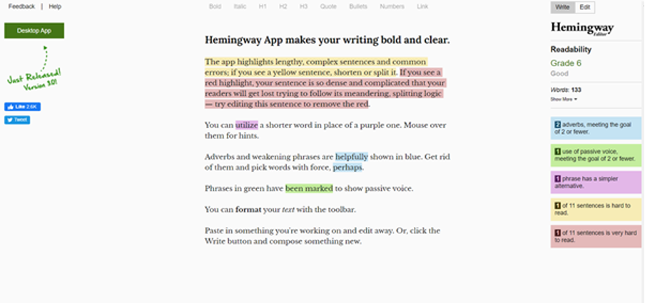 How to use the Hemingway App for writing
